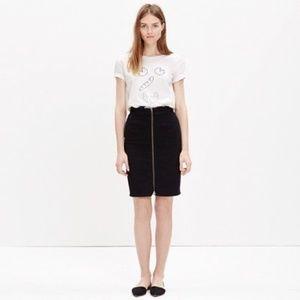 Madewell   Black Denim Zip Front Pencil Skirt